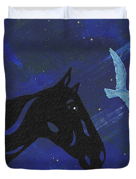 Duvet Cover featuring the painting Dreaming Horse by Manuel Sueess