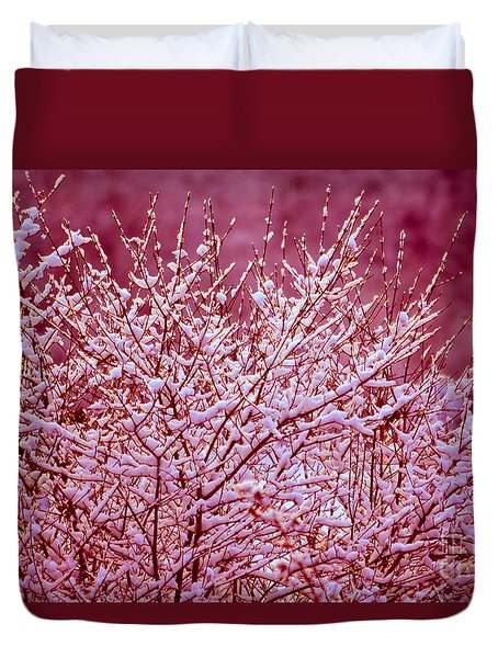 Duvet Cover featuring the photograph Dreaming In Red - Winter Wonderland by Susanne Van Hulst