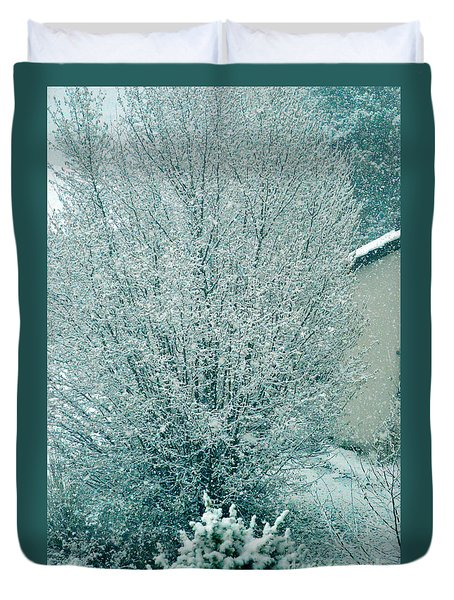 Duvet Cover featuring the photograph Dreaming Of A White Christmas - Winter In Switzerland by Susanne Van Hulst