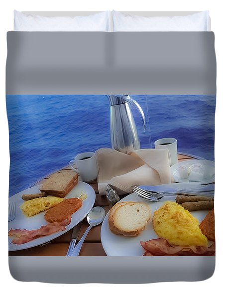 Duvet Cover featuring the photograph Dreaming Of Breakfast At Sea by DigiArt Diaries by Vicky B Fuller
