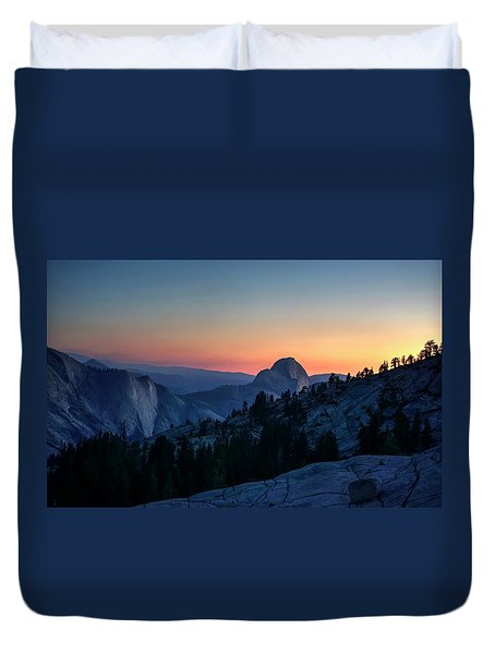 Duvet Cover featuring the photograph Dreaming Of Climbing Half Dome by Peter Thoeny