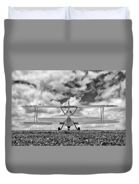 Dreaming Of Flight, In Black And White Duvet Cover