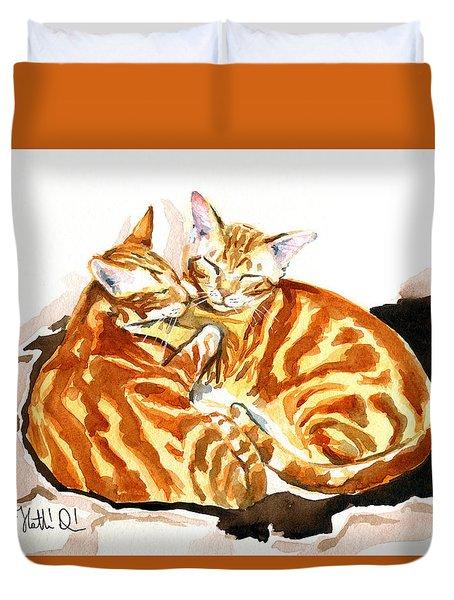 Dreaming Of Ginger - Orange Tabby Cat Painting Duvet Cover