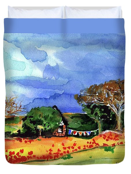 Duvet Cover featuring the painting Dreaming Of Malawi by Dora Hathazi Mendes