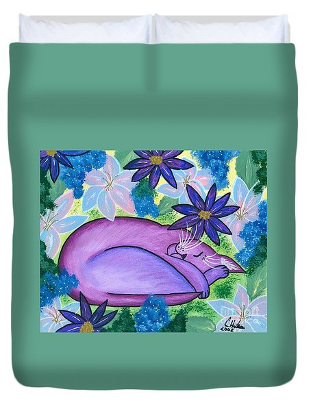 Duvet Cover featuring the painting Dreaming Sleeping Purple Cat by Carrie Hawks