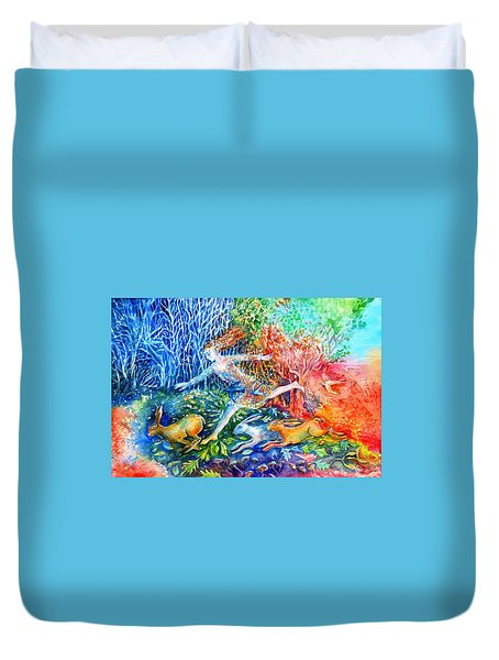 Dreaming With Hares Duvet Cover