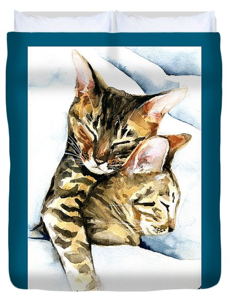 Dreamland - Bengal And Savannah Cat Painting Duvet Cover