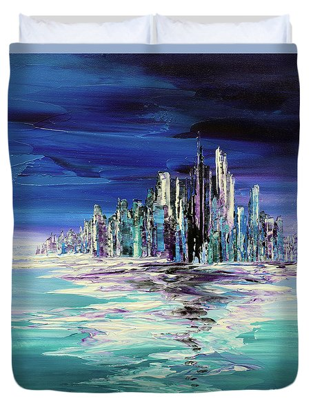 Duvet Cover featuring the painting Dreamland Isle by Tatiana Iliina