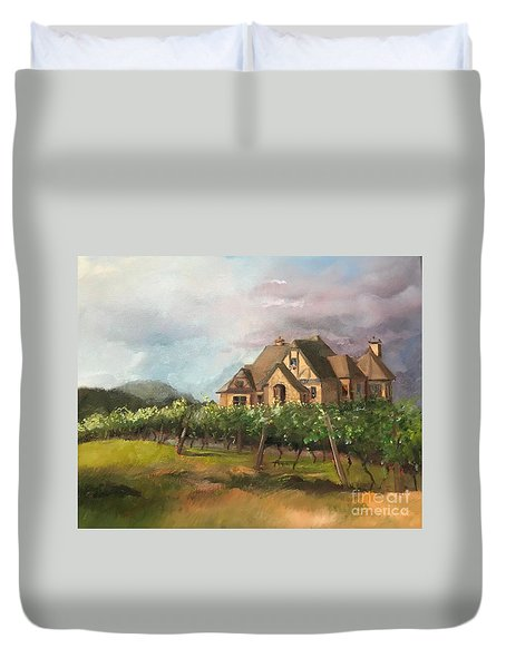Duvet Cover featuring the painting Dreams Come True - Chateau Meichtry Vineyard - Plein Air by Jan Dappen