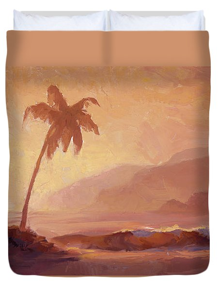 Duvet Cover featuring the painting Dreams Of Hawaii - Tropical Beach Sunset Paradise Landscape Painting by Karen Whitworth