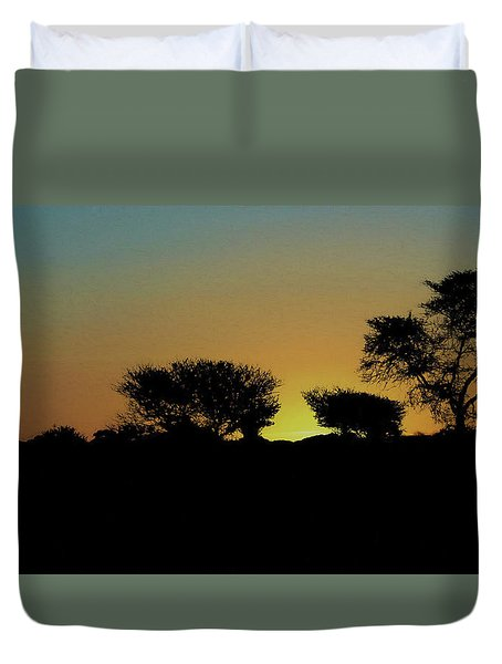 Dreams Of Namibian Sunsets Duvet Cover by Ernie Echols