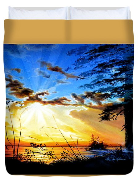 Duvet Cover featuring the painting Dreams Of Sunrise Through The Pines by Hanne Lore Koehler