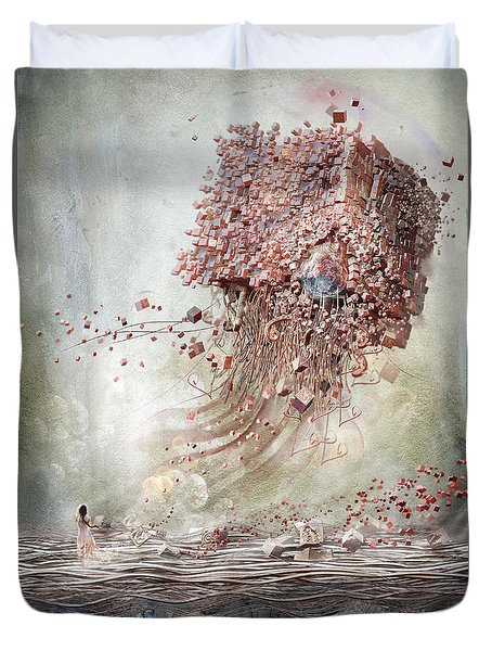 Duvet Cover featuring the digital art Dreamscape Flow No.1 by Te Hu