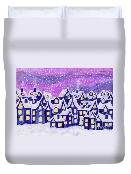Dreamstown Blue, Painting Duvet Cover