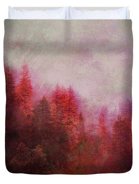 Duvet Cover featuring the digital art Dreamy Autumn Forest by Klara Acel