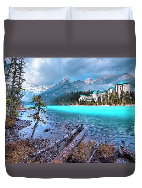 Duvet Cover featuring the photograph Dreamy Chateau Lake Louise by John Poon