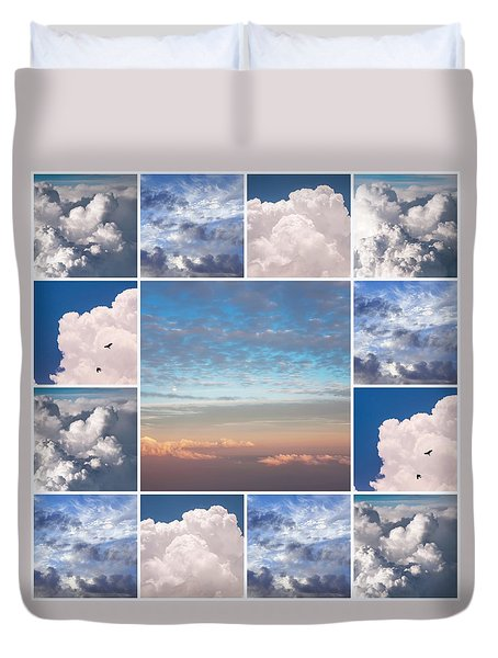 Duvet Cover featuring the photograph Dreamy Clouds Collage by Jenny Rainbow