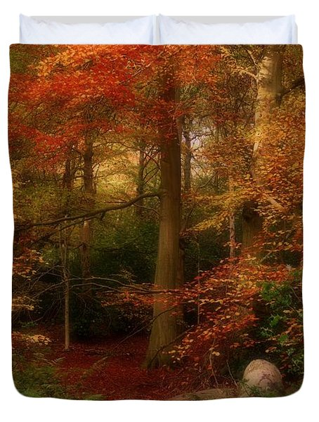 Dreamy Forest Glade In Fall Duvet Cover