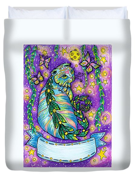 Dreamy Midnight Cat Purple Colored With Coloring Pencils Duvet Cover