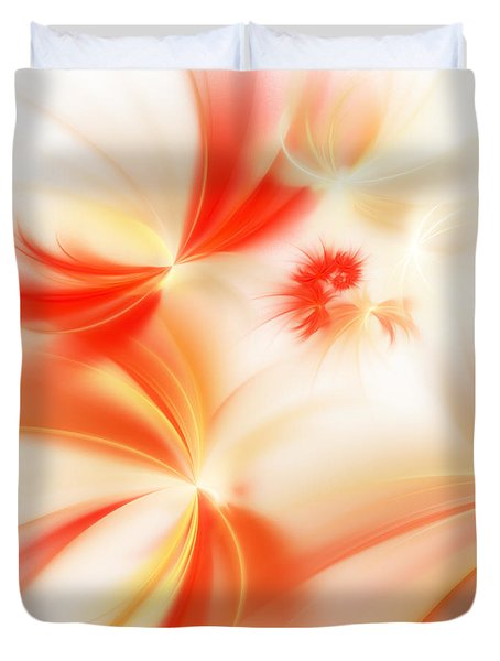 Duvet Cover featuring the digital art Dreamy Orange And Creamy Abstract by Andee Design