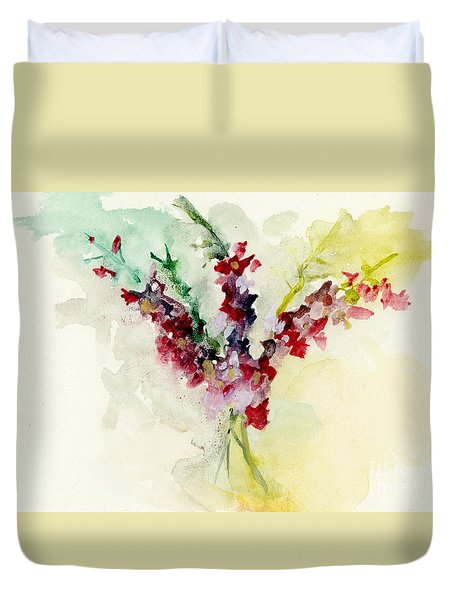 Duvet Cover featuring the painting Dreamy Orchid Bouquet by Lauren Heller