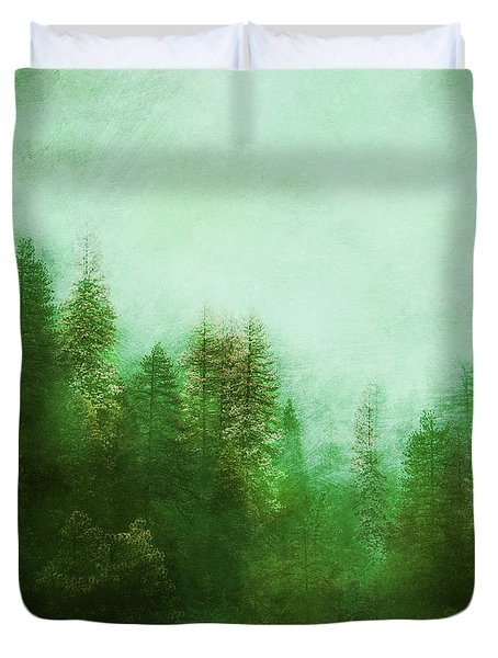 Duvet Cover featuring the digital art Dreamy Spring Forest by Klara Acel
