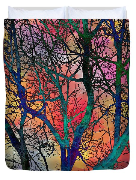 Duvet Cover featuring the digital art Dreamy Sunset by Klara Acel