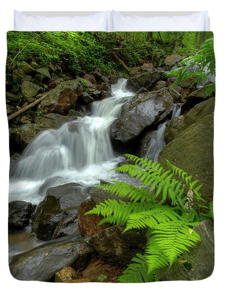 Duvet Cover featuring the photograph Dreamy Waterfall Cascades by Debra and Dave Vanderlaan