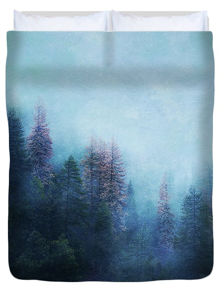 Duvet Cover featuring the digital art Dreamy Winter Forest by Klara Acel