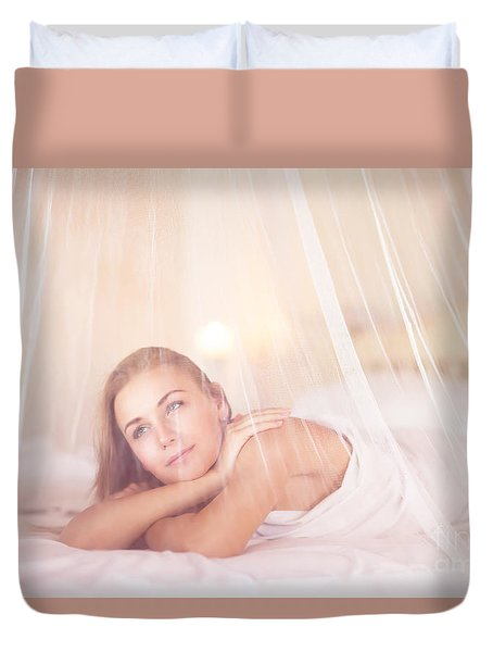 Dreamy Woman In Bedroom Duvet Cover