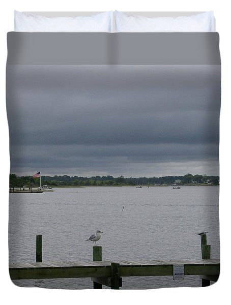 Dreary Day On The Water Duvet Cover by Skyler Tipton