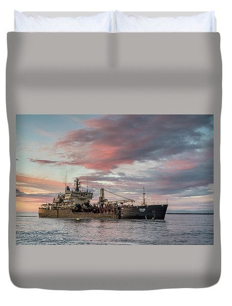 Duvet Cover featuring the photograph Dredging Ship by Greg Nyquist
