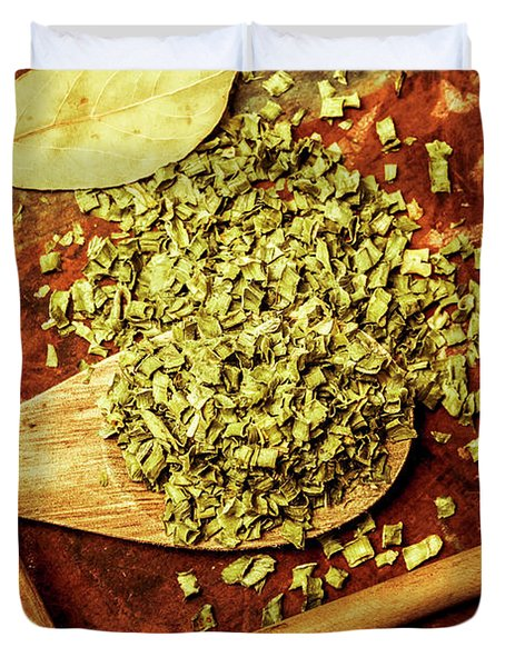 Dried Chives In Wooden Spoon Duvet Cover