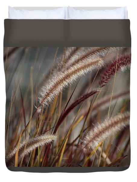 Dried Desert Grass Plumes In Honey Brown Duvet Cover