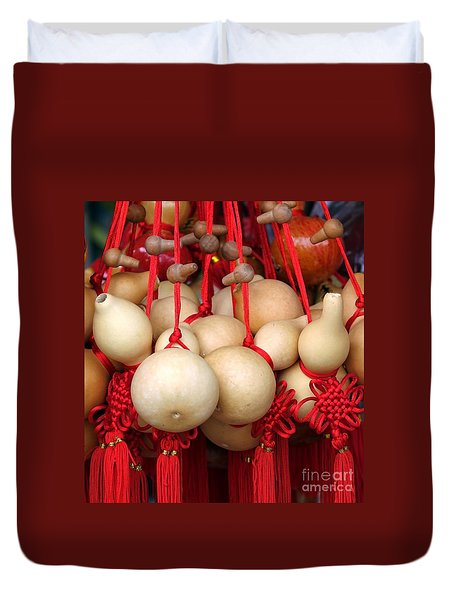 Dried Gourds With Red Tassels Duvet Cover