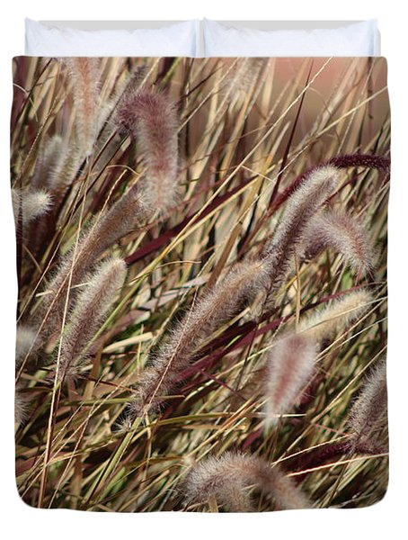 Dried Grasses In Burgundy And Toasted Wheat Duvet Cover