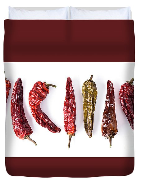 Dried Peppers Lined Up Duvet Cover