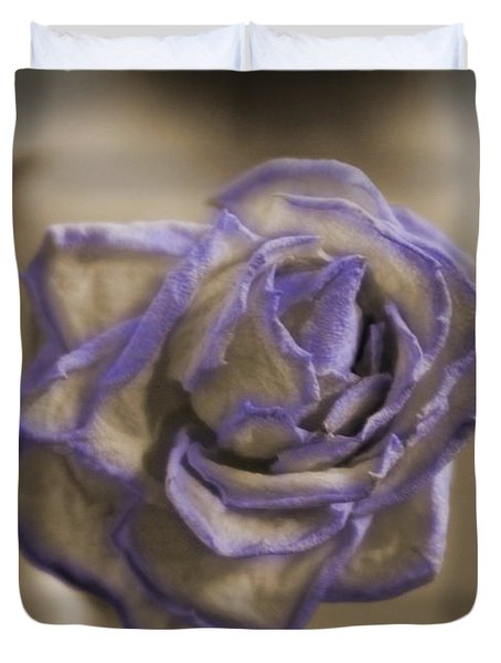 Dried Rose In Sienna And Ultra Violet Duvet Cover