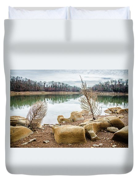Dried Shrubs At Cherokee Reservoir Duvet Cover