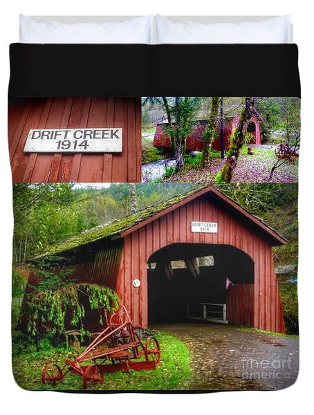 Drift Creek Covered Bridge Duvet Cover