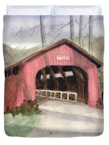 Drift Creek Covered Bridge Watercolor Duvet Cover