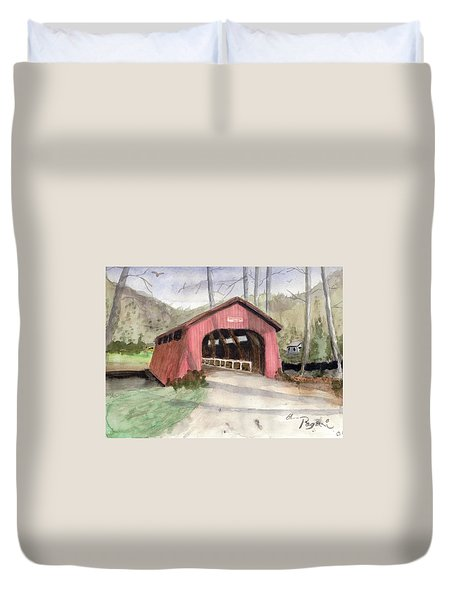Drift Creek Covered Bridge Watercolor Duvet Cover