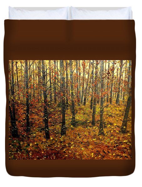 Drifting On The Fall Duvet Cover by Lisa Aerts