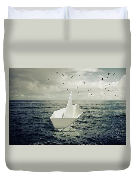 Duvet Cover featuring the photograph Drifting Paper Boat by Carlos Caetano