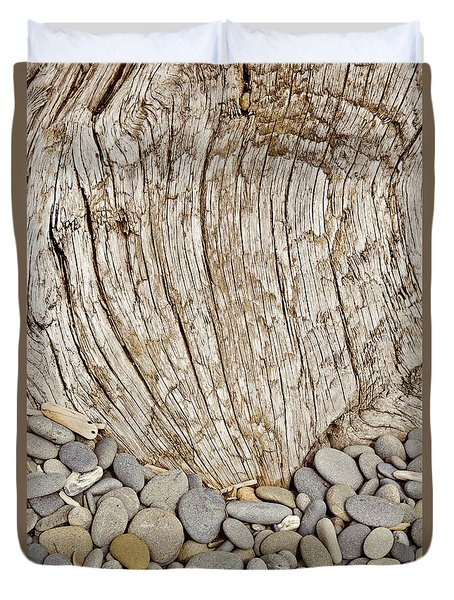 Driftwood And Rock Abstract Vertical Duvet Cover