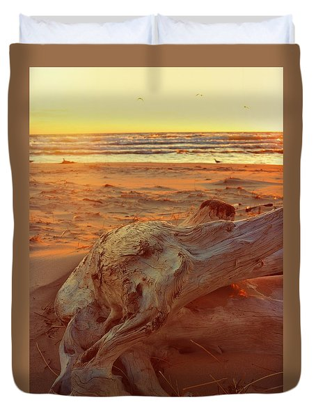Duvet Cover featuring the photograph Driftwood At Sunset by Michelle Calkins