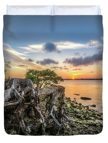 Duvet Cover featuring the photograph Driftwood At The Edge by Debra and Dave Vanderlaan