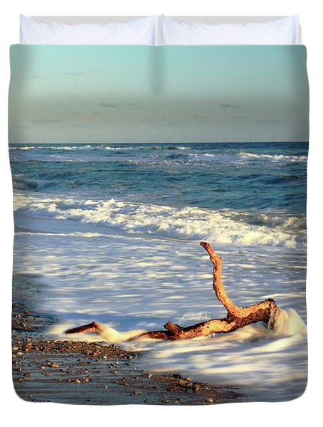 Duvet Cover featuring the photograph Driftwood In The Surf by Roupen  Baker