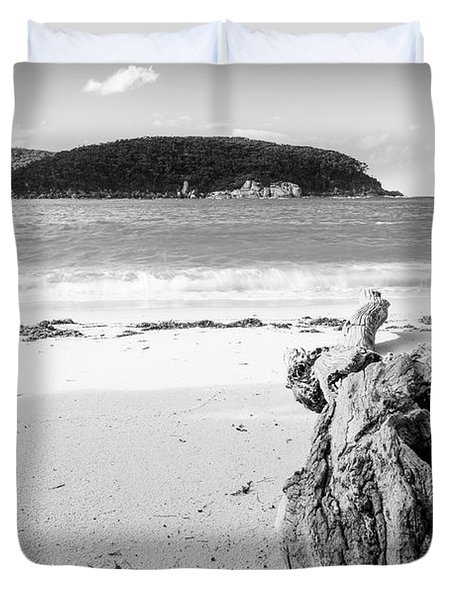 Driftwood On Beach Black And White Duvet Cover