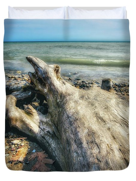 Driftwood On Beach - Grant Park - Lake Michigan Shoreline Duvet Cover by Jennifer Rondinelli Reilly - Fine Art Photography